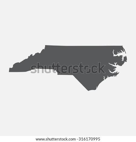 North Carolina grey state border map.