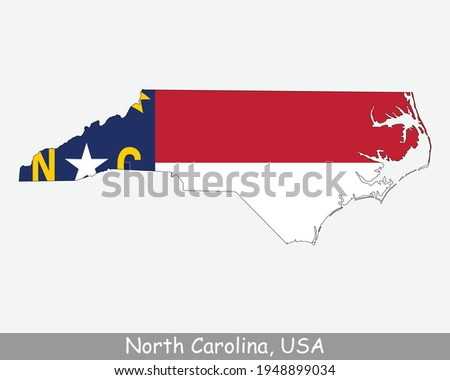 North Carolina Map Flag. Map of NC, USA with the state flag isolated on white background. United States, America, American, United States of America, US State. Vector illustration. Photo stock ©