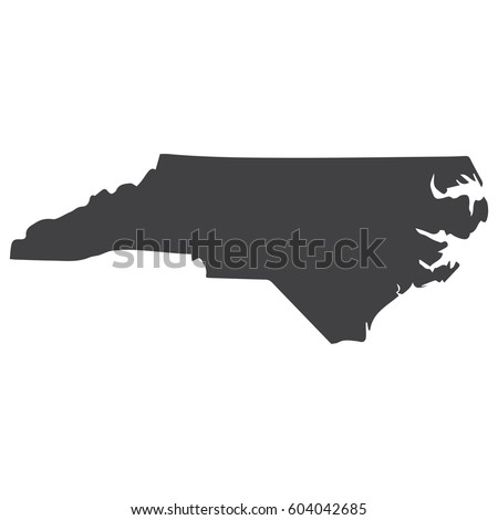 North Carolina state map in black on a white background. Vector illustration