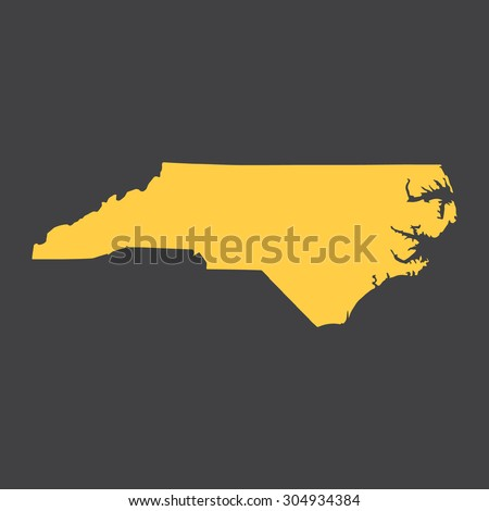 North Carolina yellow border,map. Vector illustration EPS8.