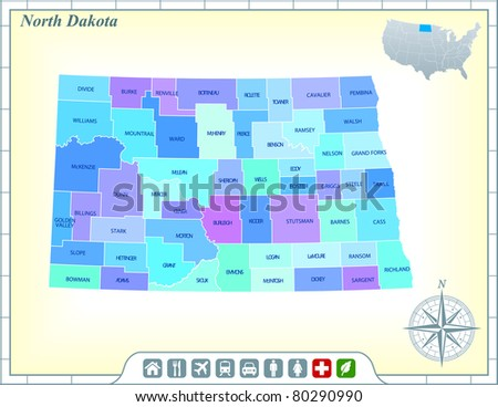 North Dakota State Map with Community Assistance and Activates Icons Original Illustration