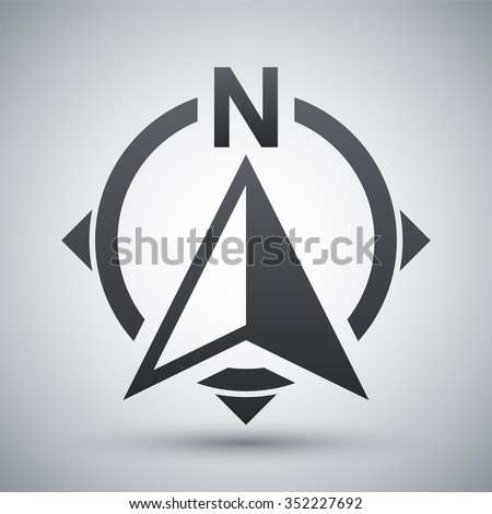 North direction compass icon, stock vector