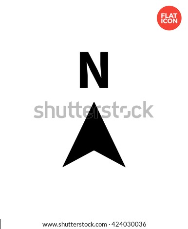 North Icon Flat Style Isolated Vector Illustration