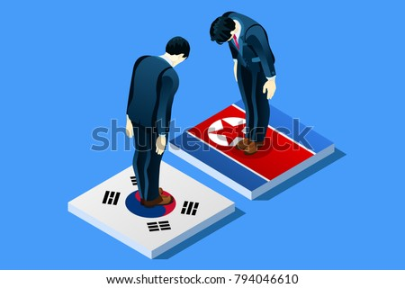 North Korea and South Korea peace negotiation infographic with flags. Standing bowing men on flag vector illustration.