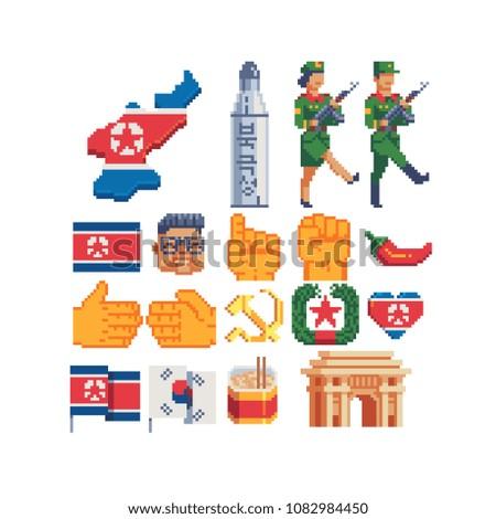 north korea elements pixel art...