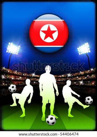 North Korea Flag Button with Soccer Match in Stadium Original Illustration