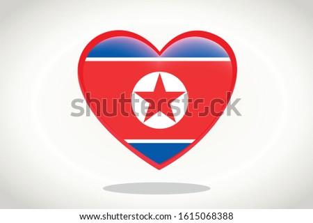 North Korea Flag in Heart Shape. Heart 3d Flag of North Korea, North Korea flag template design.