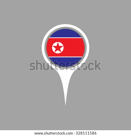 north korea flag pin