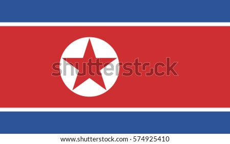 north korea flag  vector real