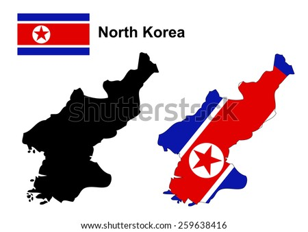 North Korea map and flag vector, North Korea map, North Korea flag