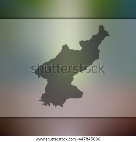 north korea map on blurred