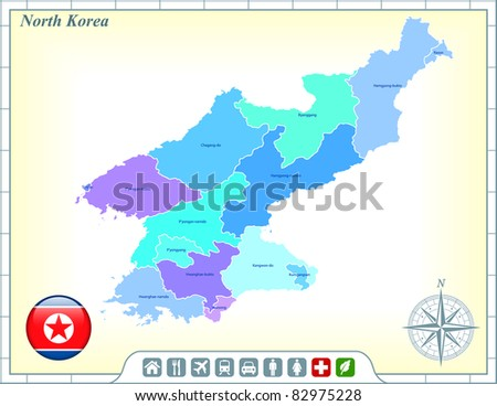 North Korea Map with Flag Buttons and Assistance & Activates Icons Original Illustration