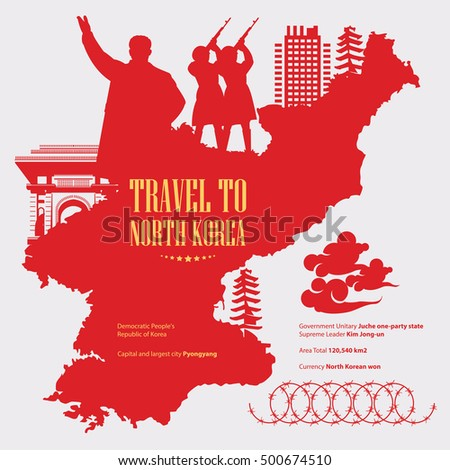 north korea poster with red