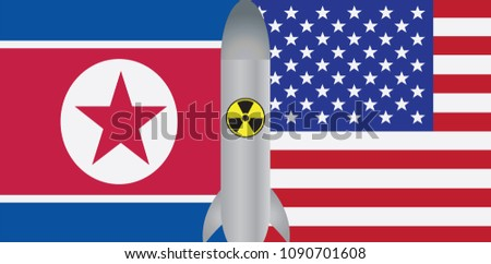 North Korea USA 2018 Summit Flags with Nuclear Missile Symbol Outline Color vector Illustration