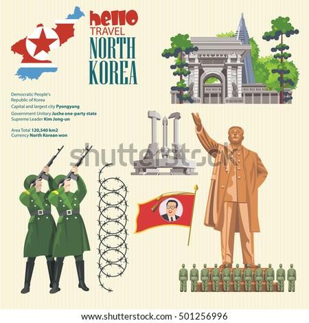 north korea vector set