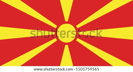 North Macedonia flag, official colors and proportion correctly. Republic of North Macedonia flag. Vector illustration. EPS10. North Macedonia flag vector icon, simple, flat design for web or mobile