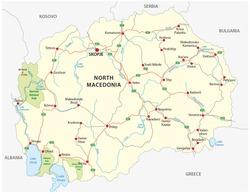 north macedonia road and national park vector map