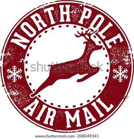 North Pole Air Mail Christmas Santa Stamp Stock Vector Illustration ...