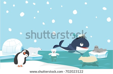 North pole animal background