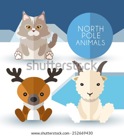north pole animals   vector
