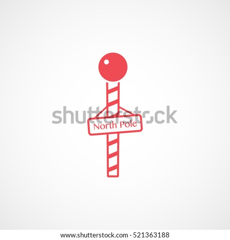 North Pole Christmas New Year Red Flat Icon On White Background