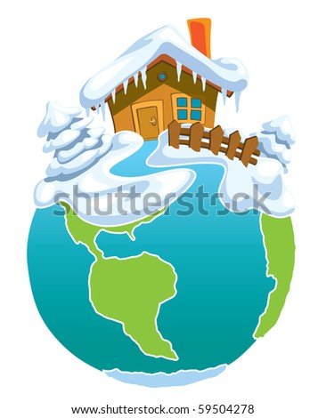 North Pole, Globe with Santa Claus house.
