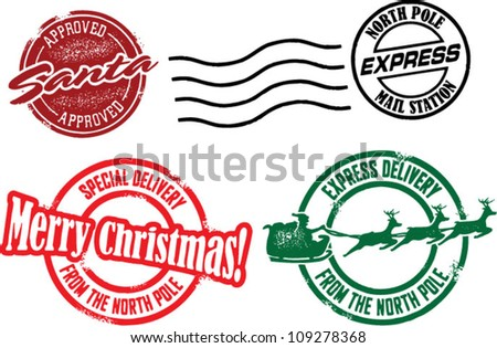 Christmas vector stamps download free vector art stock graphics north pole santa christmas stamps m4hsunfo