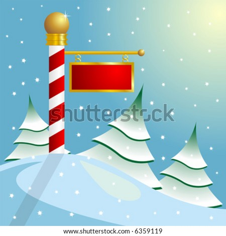 North Pole sign with copyspace