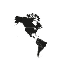 North, South America with country borders, vector illustration.