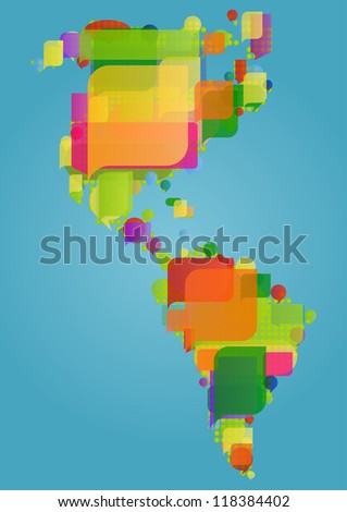 North, south and central America continent world map made of colorful speech bubbles concept illustration background vector