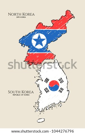 north  south korea map hand