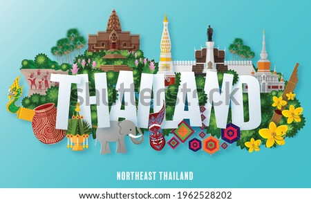 Northeast Thailand, Isan - The most beautiful places to visit in thailand with paper cut art and craft style on paper background. (Thai Translation : Isan )