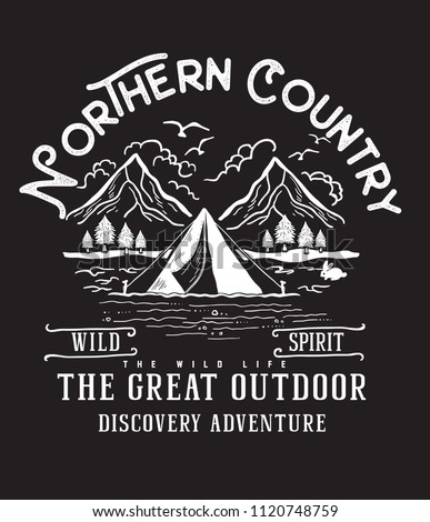 Northern country.Camp style vector printing design.