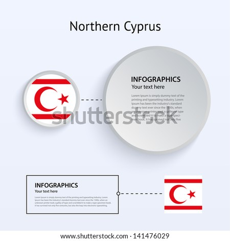 Northern Cyprus Country Set of Banners on gray background for Infographic and Presentation. Vector illustration.