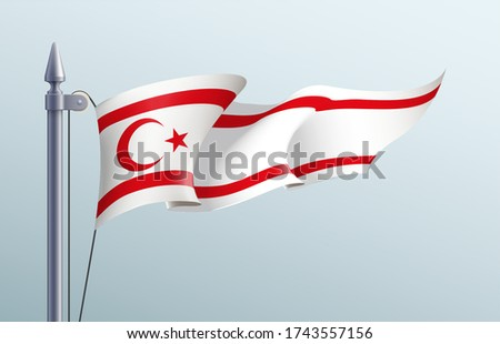 Northern Cyprus flag state symbol isolated on background national banner. Greeting card National Independence Day Turkish Republic of Northern Cyprus. Illustration banner realistic state flag of TRNC.
