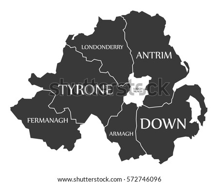 northern ireland map labelled