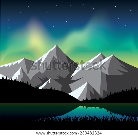 northern light glowing over the