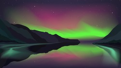 Northern lights glowing over a mountain lake. Vector illustration