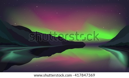 northern lights glowing over a