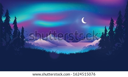 Northern lights illustration - Aurora borealis in the sky over a Norwegian fjord. Beautiful northern landscape scene at night time with moon, forest and ocean. Magical, mystical north concept.