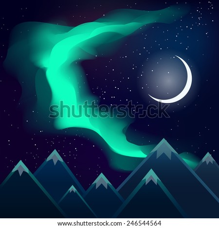 northern lights over mountains