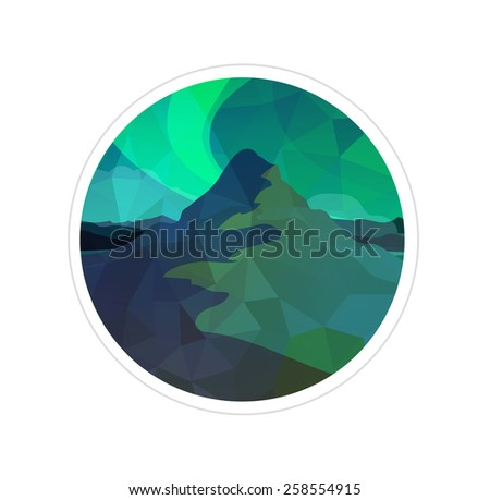 northern lights  vector round