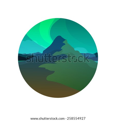 northern lights  vector round