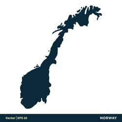 Norway - Europe Countries Map Vector Icon Template Illustration Design. Vector EPS 10.