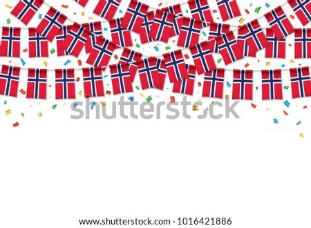 norway flag garland white