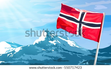 norway flag on blue sky and