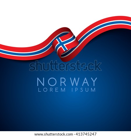 norway flag ribbon   vector