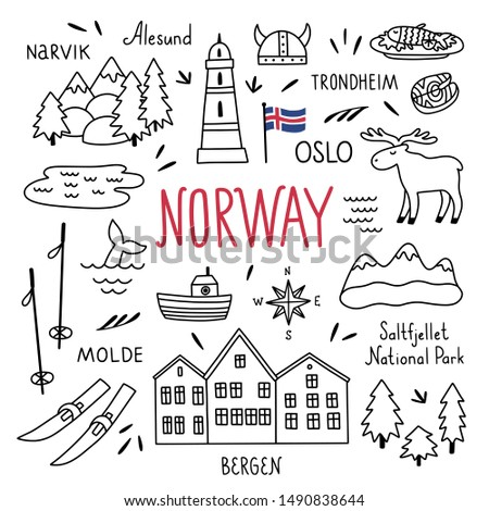 norway hand drawn outline