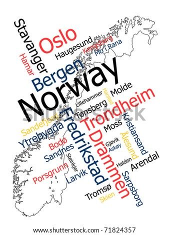 Norway map and words cloud with larger cities