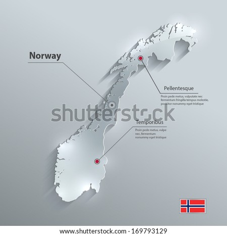 norway map flag glass card